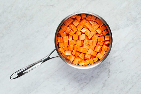 Cook Sweet Potatoes and Shallot