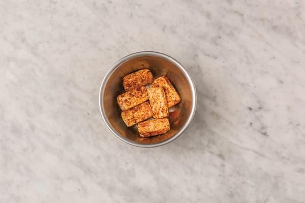 Coat the tofu