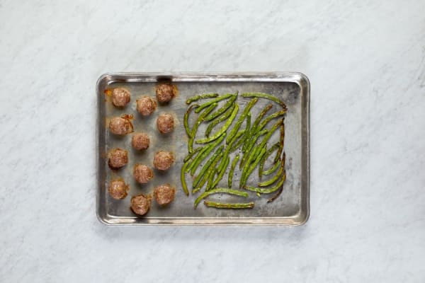 Roast Meatballs and Green Beans