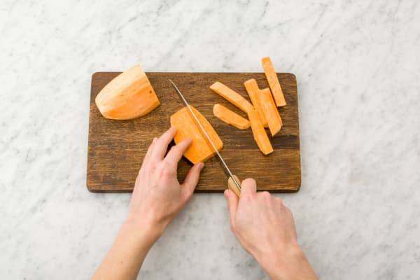 Prep and roast the sweet potatoes