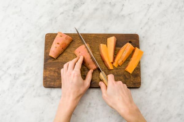 Roast the sweet potatoes