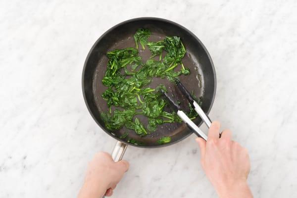 Wilt spinach.