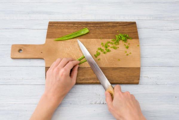 Chop the green chilli