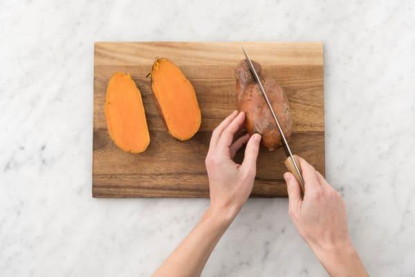 Split sweet potatoes