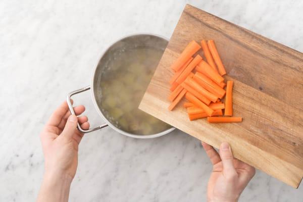 Finish carrots and potatoes