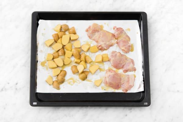 Roast chicken and potato.