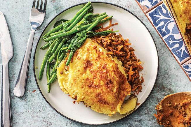 (Vegetarian) Mash-Topped Spiced Lentil Cottage Pie