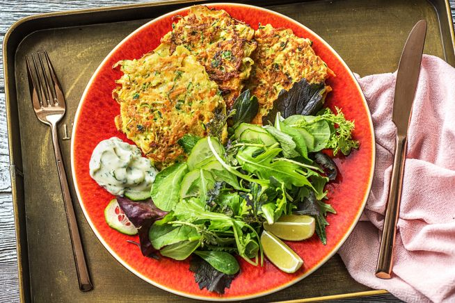 (Vegetarian) Zucchini & Carrot Cheesy Fritters