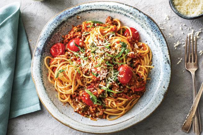 (Vegetarian) Cheat's Lentil & Cherry Tomato Bolognese