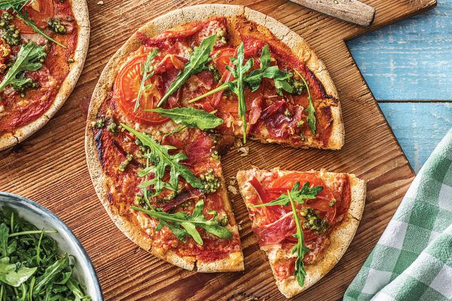 Speedy Serrano Ham, Rocket & Basil Pesto Pizza