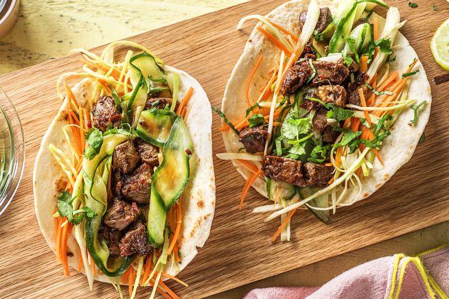 Koreaanse biefstukwraps met groenten