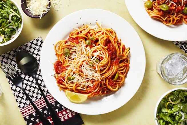 Quick meals - Green Olive Pasta Puttanesca