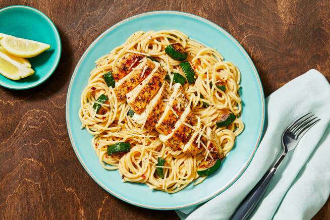 Quick meals - Chicken over Lemon Parm Spaghetti