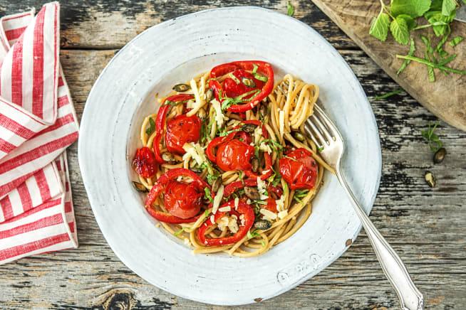Volkoren spaghetti met cherrytomaten en gruyère