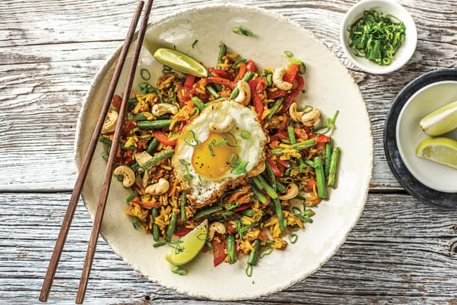 Vegetarian Recipes - (Vegetarian) Nasi-Goreng Style Veggie Packed Rice