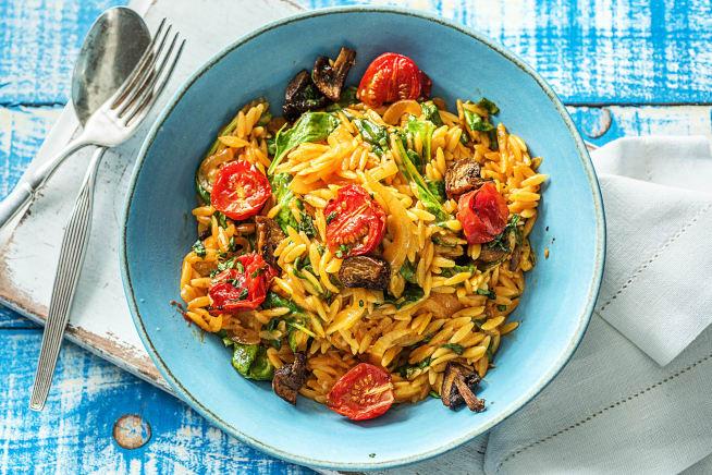 Schnelle Gerichte - Orzo-Nudel-Risotto mit rauchigen Pilzen,