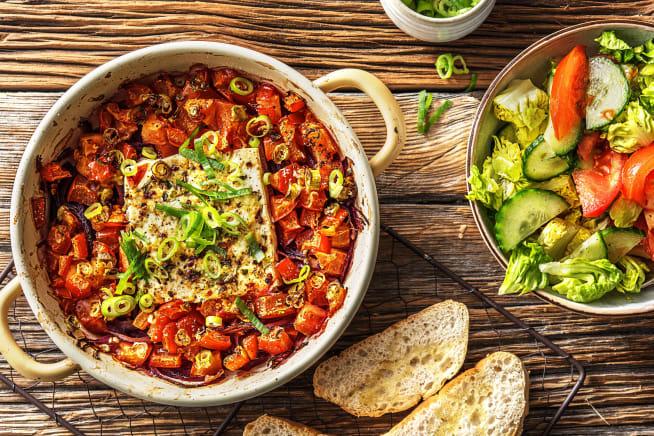 Schnelle Gerichte - Gebackener Hirtenkäse an Tomatengemüse