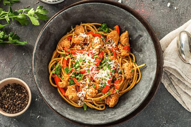 Tuscan Sausage and Pepper Spaghetti