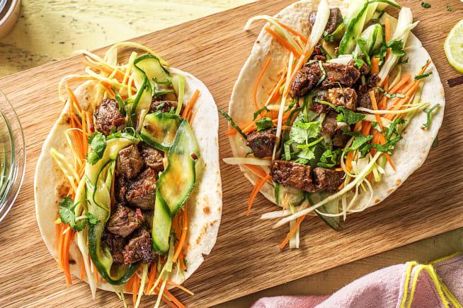 Snelle recepten - Koreaanse biefstukwraps met groenten