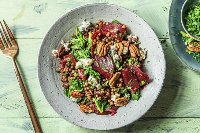Snelle recepten - Linzensalade met spinazie en danablu