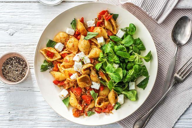 Vegetarische recepten - Conchiglie met rode pesto en feta