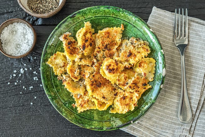 One-Pan Mushroom Ravioli Gratin