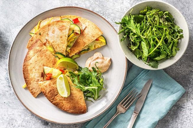 Vegetarische recepten - Quesadilla met groenten en cheddar