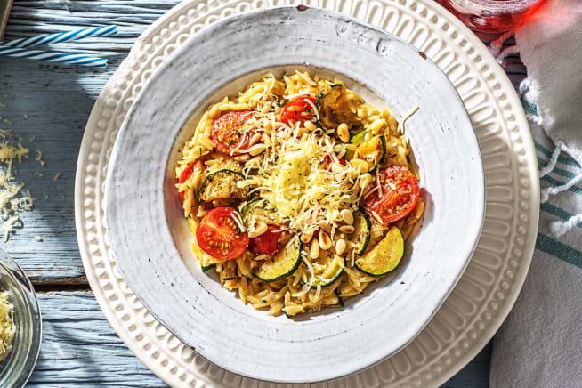 Vegetarische recepten - Orzo met romatomaten en gruyère
