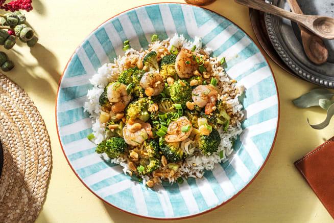 Crevettes et vinaigrette au gingembre et citron vert