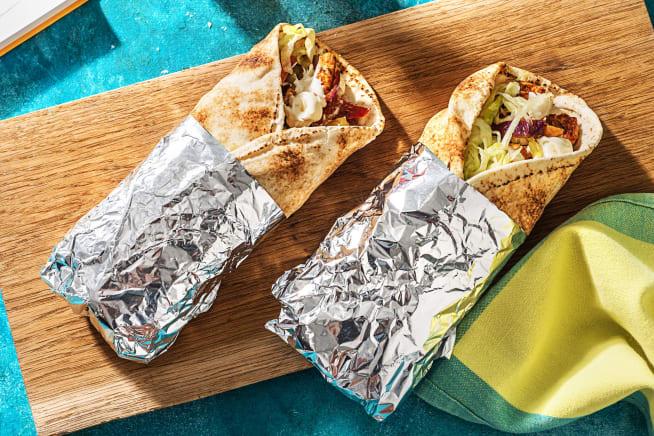 Pain plat roulé au shawarma de dinde