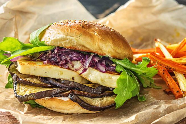 Vegetarische Gerichte - Halloumi-Auberginen-Burger
