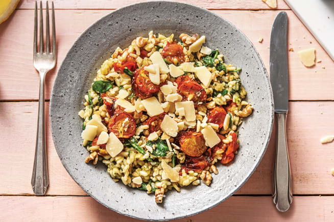 Vegetarian Recipes - Baked Cherry Tomato & Pesto Risotto
