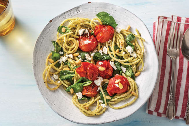 Vegetarian Recipes - Goat Cheese & Pesto Spaghetti