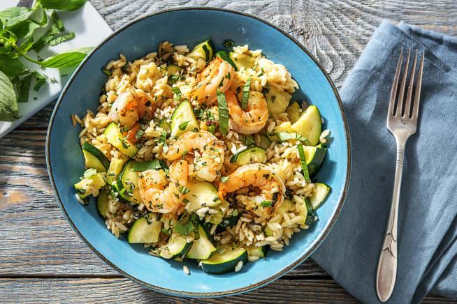 Caloriearme recepten - Orzo met knoflookgarnalen en courgette
