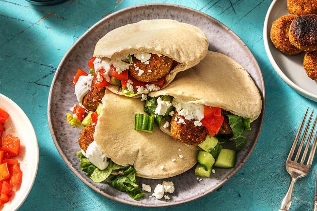 Pita's met falafel en labne