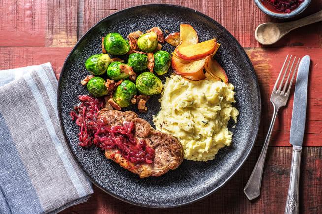 Recettes sans gluten - Échine de porc désossée aux choux de Bruxelles et aux lardons
