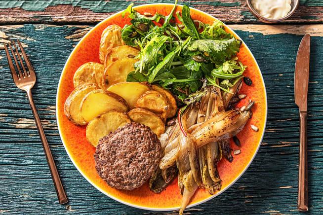 Recettes sans gluten - Steak haché et chicons caramélisés