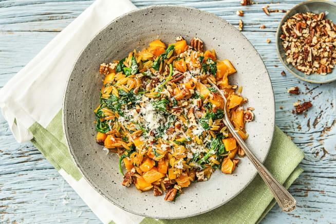 Recettes végétariennes - Orzo à la courge, aux épinards et au grana padano