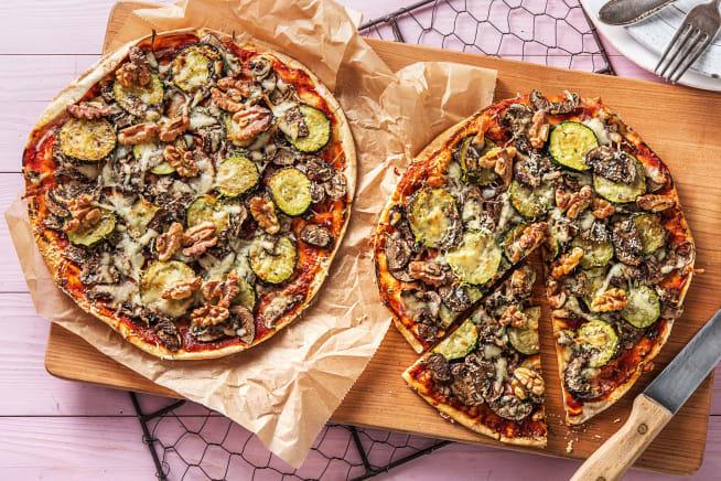 Recettes végétariennes - Pizza sur pain plat aux courgettes grillées