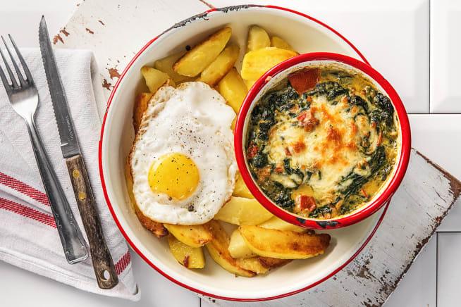 Recettes végétariennes - Gratin d'épinards crémeux et œuf au plat