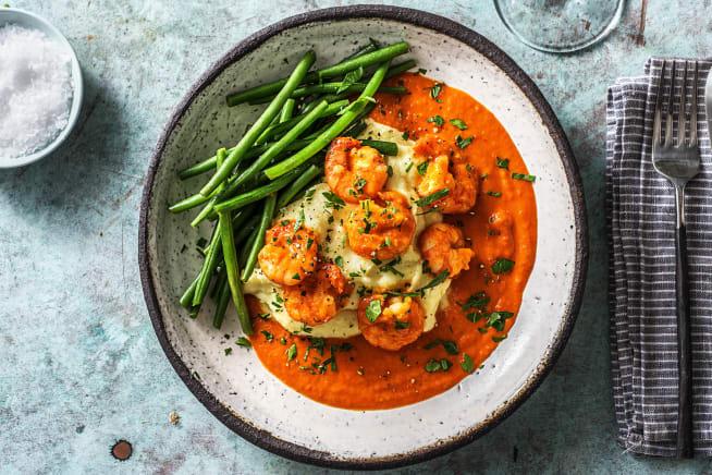 Crevettes à la sauce tomate fraîche