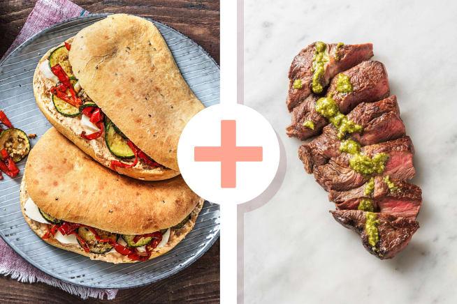 Focaccia-Sandwich mit Steakstreifen