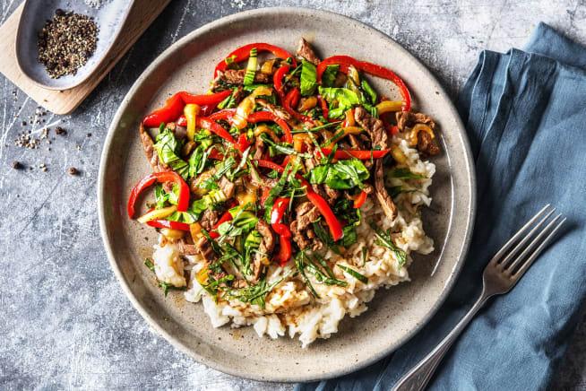 Émincé de bœuf et pak-choï au wok