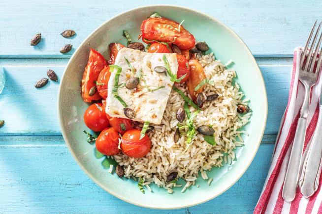 Griekse rijst met gebakken feta