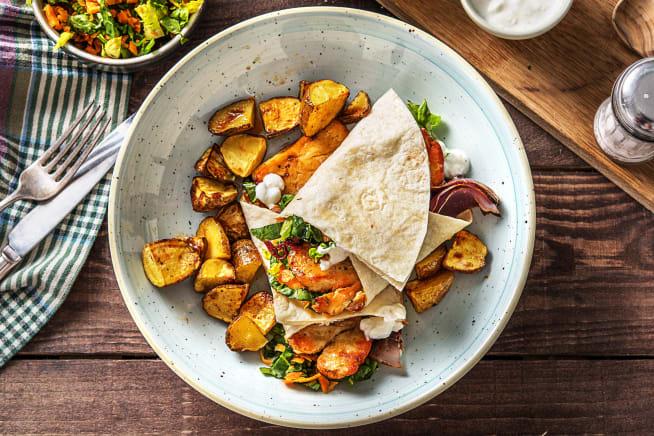 Vegetarische Gerichte - Scharfe Piri-Piri-Halloumi-Wraps