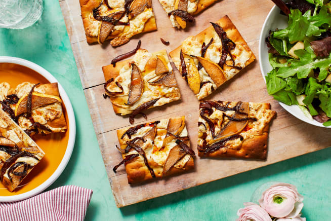 Pear and Balsamic Onion Flatbreads