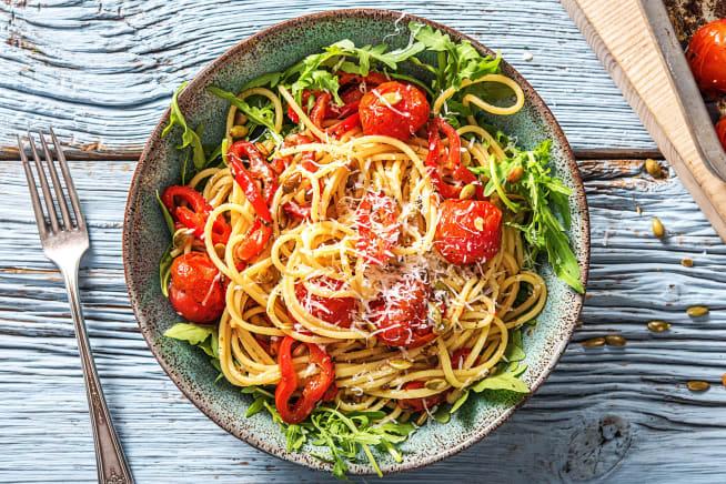 Recettes végétariennes - Linguine et tomates cerises au four