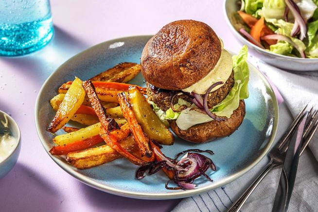 Falafel dans un burger de portobello