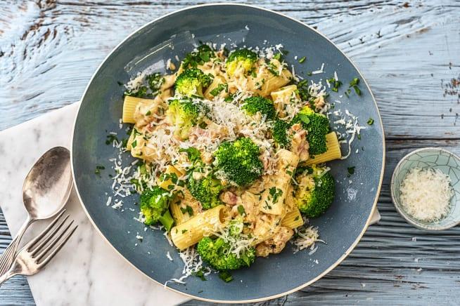 Rigatoni au brocoli et lardons