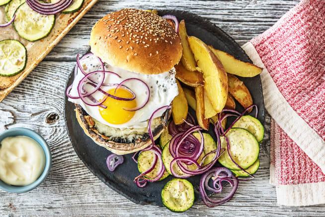 Recettes végétariennes - Burger de portobello avec un œuf au plat